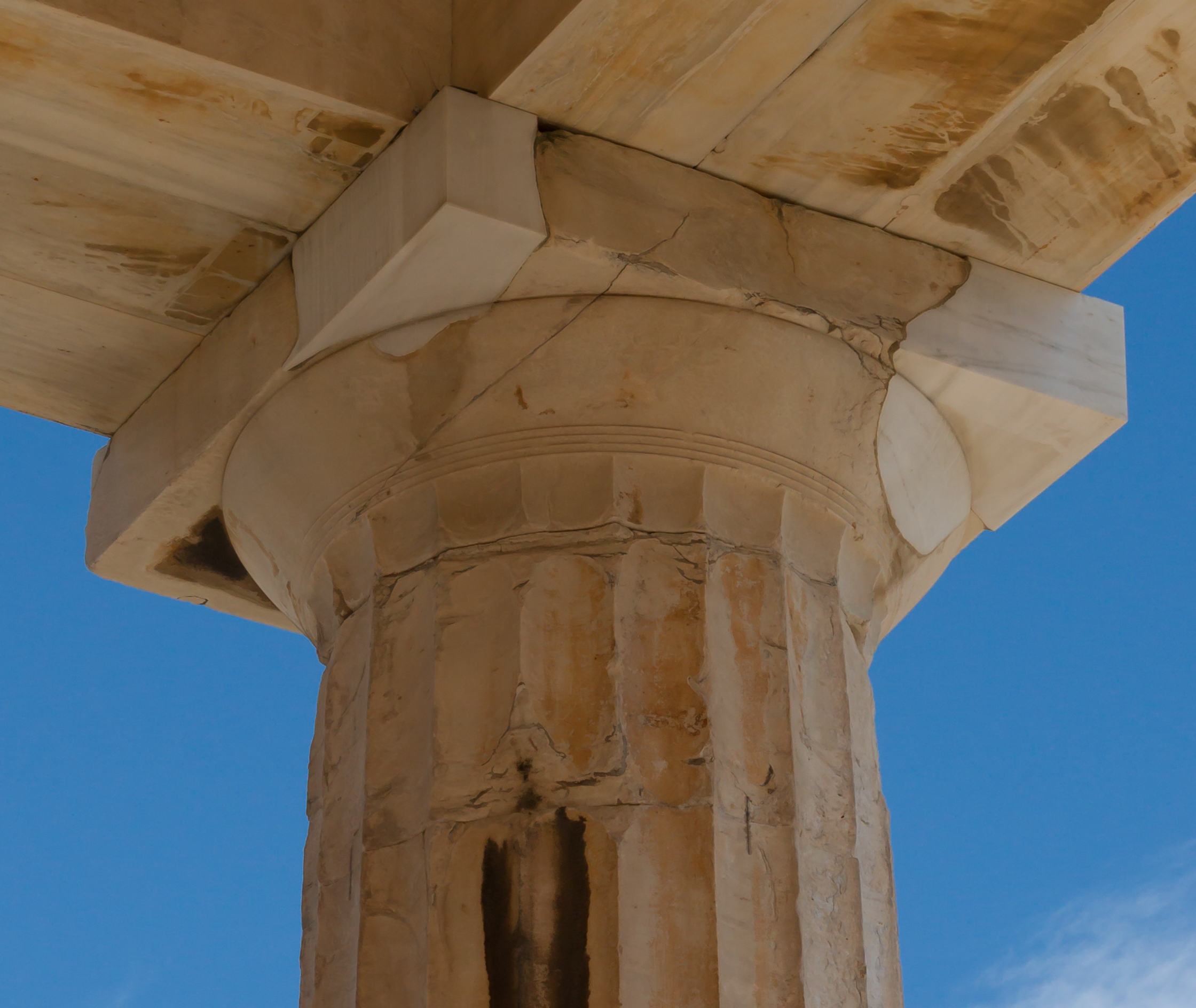 Doric column inside Parthenon Acropolis Athens Greece