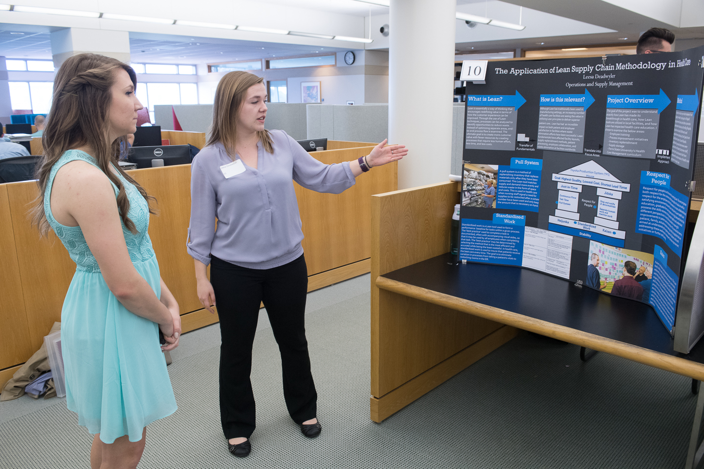 Ferris State Honors students presenting posters at Senior Symposium