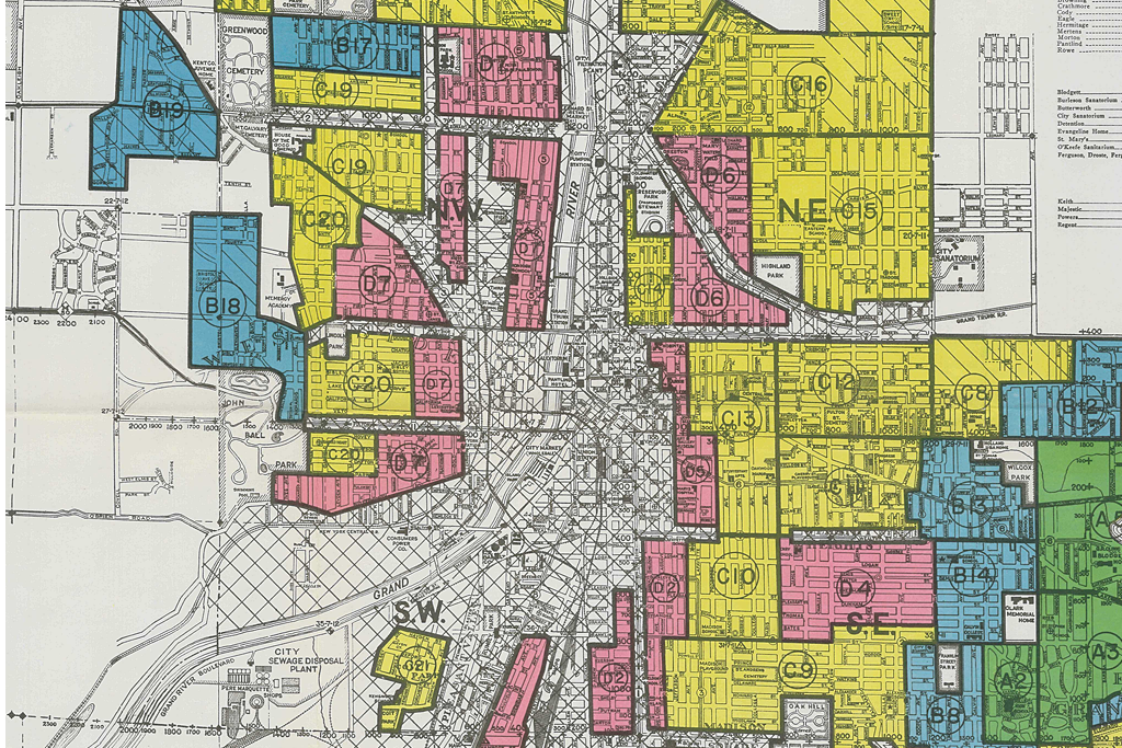 Screen shot of the 1937 Home Owners Loan Corporation map of Grand Rapids, showing areas of 'risky' loans in red. See http://www.historygrandrapids.org/tilemap/2596/the-holc-map for more